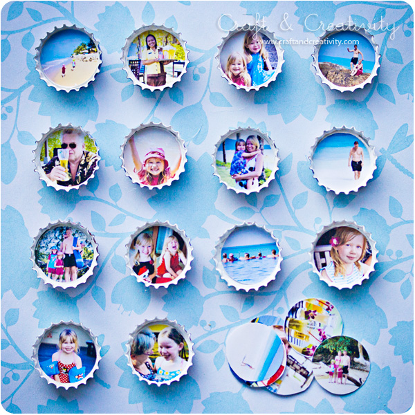 Bottle cap photo frames