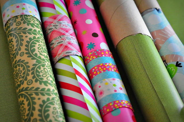 Washi Tape Toilet Paper Rolls for Wrapping Paper Storage