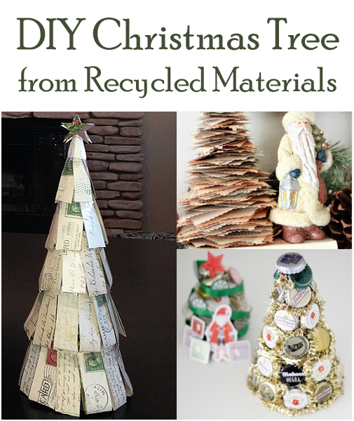 Diy christmas tree from recycled materials for Home decor ideas from recycled materials