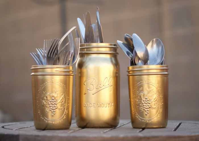 DIY Gold Painted Silverware Mason Jars
