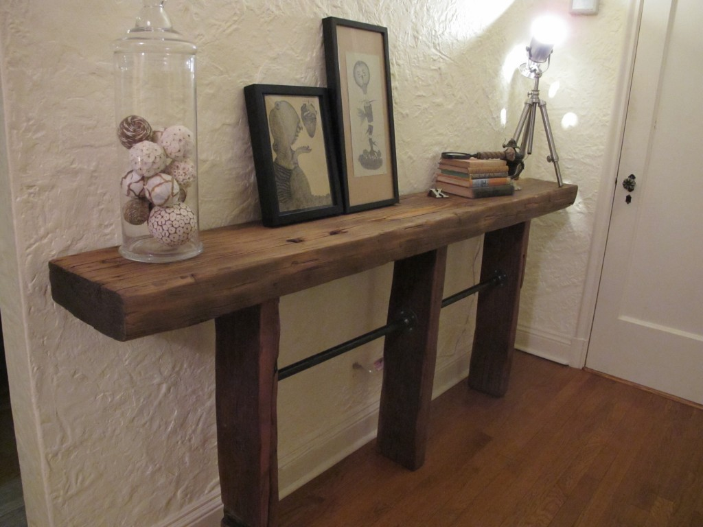 Reclaimed Wood and Pipe Side Table