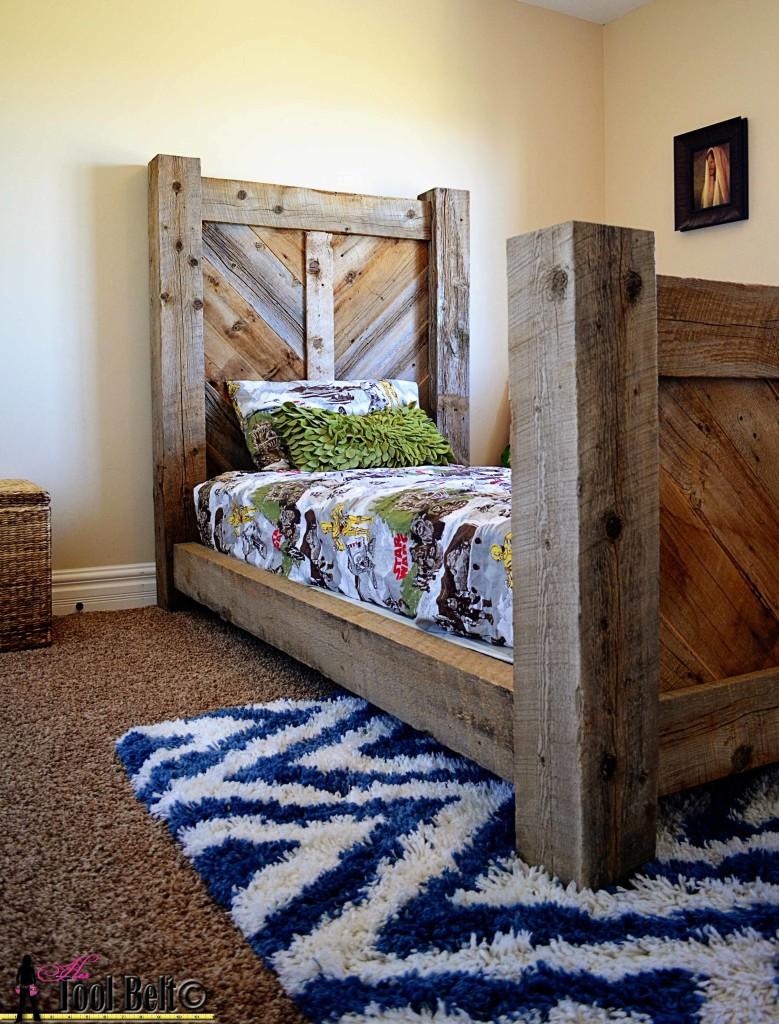 Rustic Barnwood Twin Bed