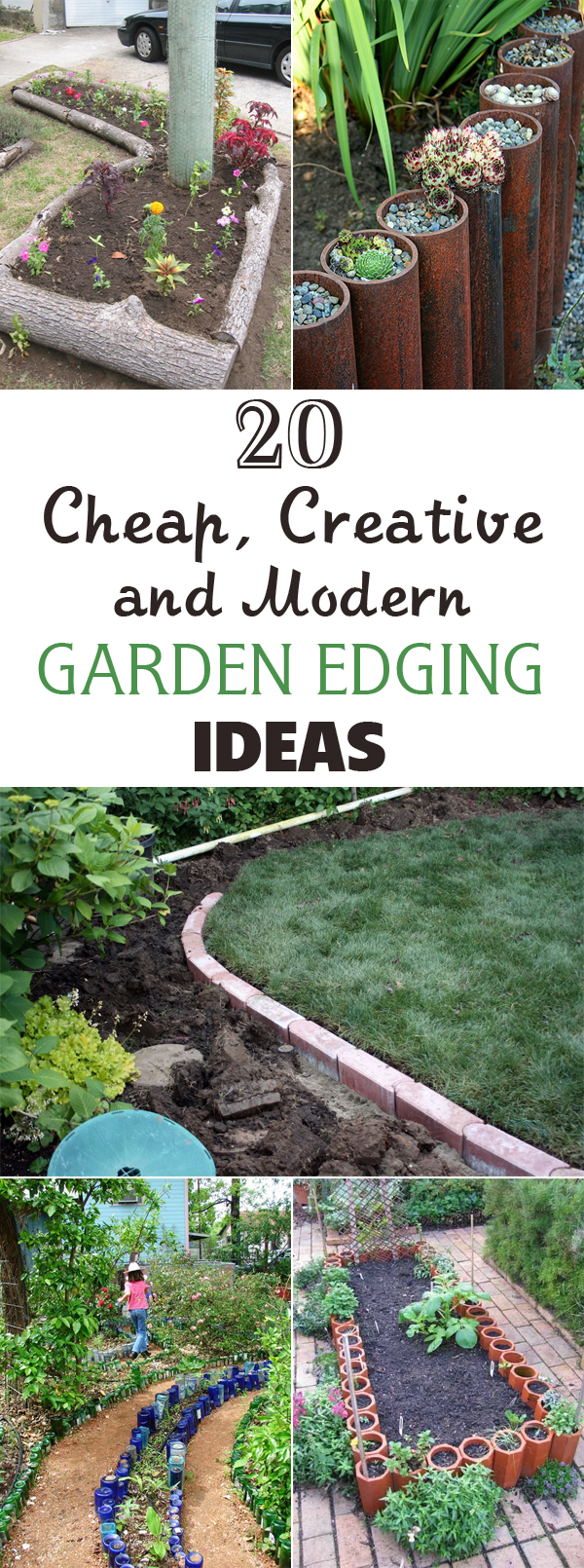 20 cheap creative and modern garden edging ideas for Cheap diy garden edging