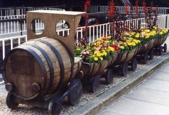Barrels Transformed into Train Garden Planter