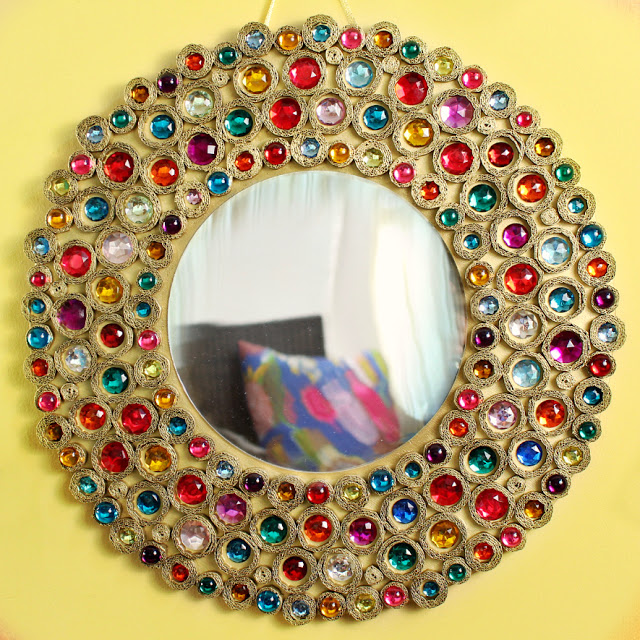 Bejeweled Boho Mirror made with Cardboard and Gems