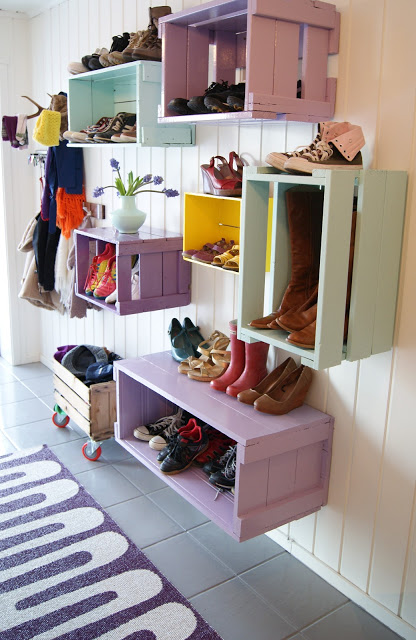 Colorful Entryway Crates