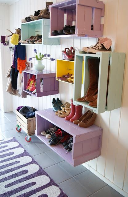 Colorful Entryway Crates