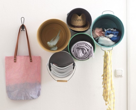 Create a nice rack with metal buckets