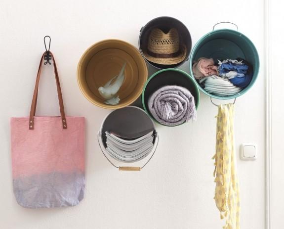 Create a nice rack with metal buckets