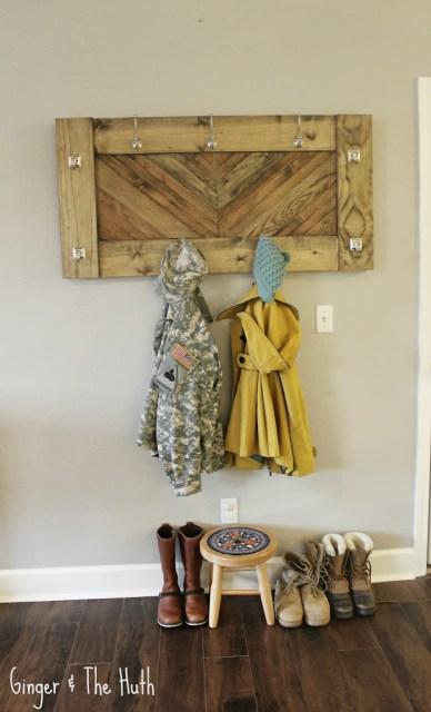 DIY Chevron Wall Coat Rack Using Scrap Wood