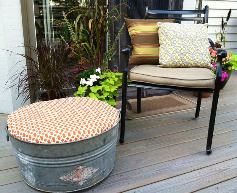 Galvanized tub turned outdoor ottoman