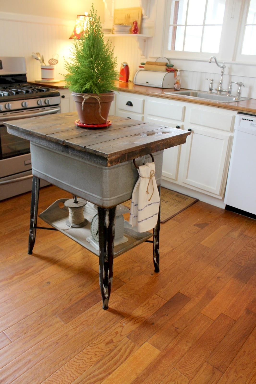 Turn a wash tub into a kitchen island