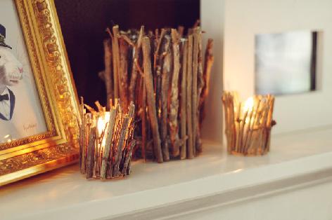 DIY Twig Candle Holder