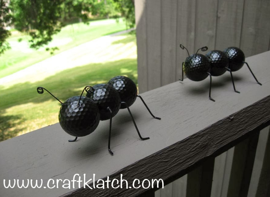 Whimsical and Fun Ants from Old Golf Balls