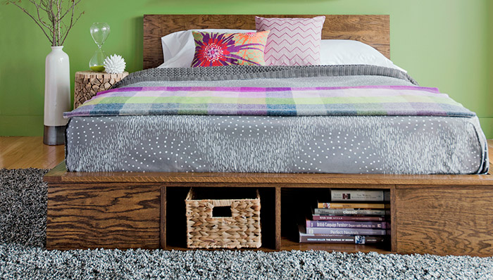 Wood platform bed with storage underneath