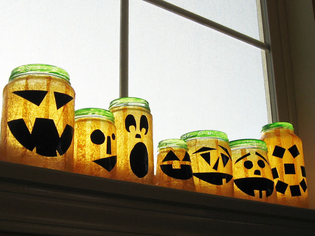 Recycled Jar Jack O'Lanterns