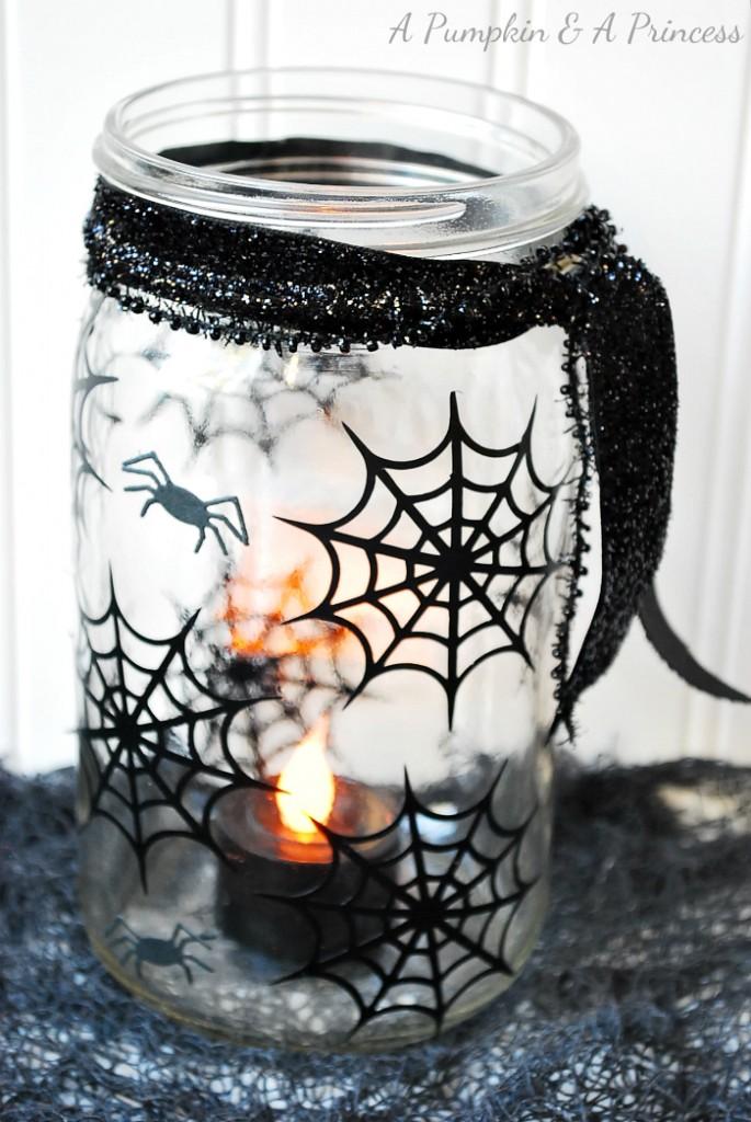 Spiderweb Mason Jar Lantern