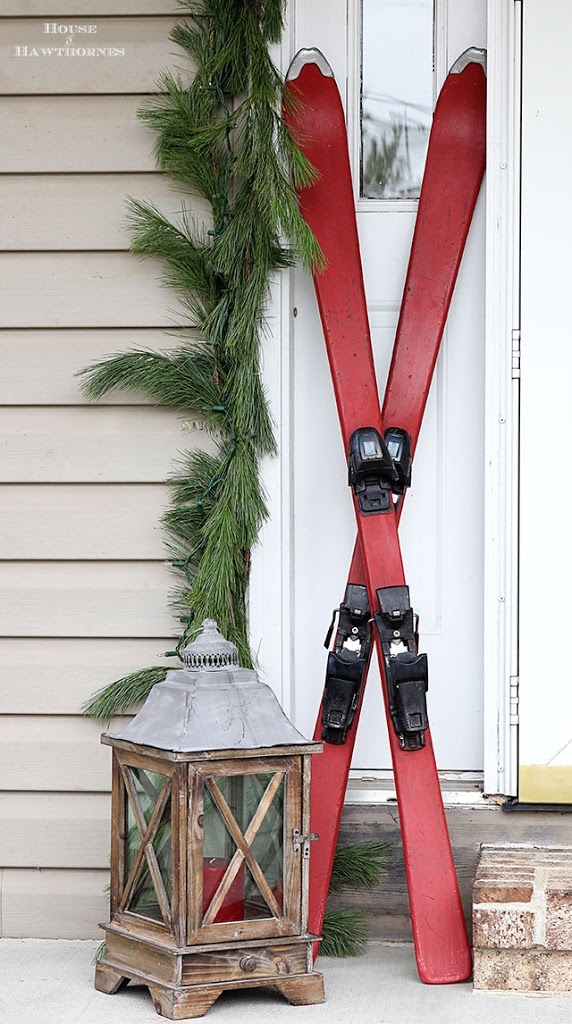 Chalk Painted Skis For A Winter Porch