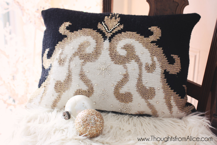Glam Christmas Throw Pillow from Ugly Sweater
