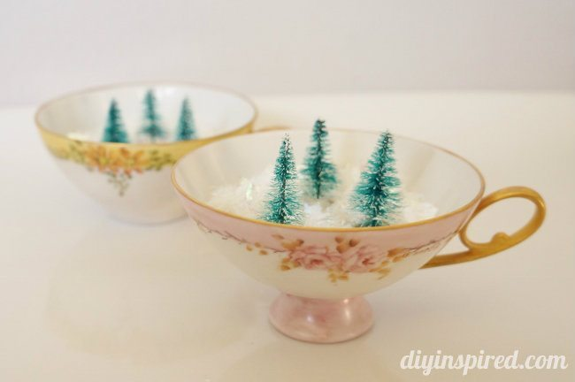 Mini Winter Forest in Vintage Tea Cups