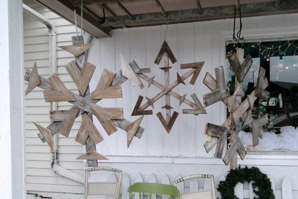 Repurposed Pallet Snowflakes