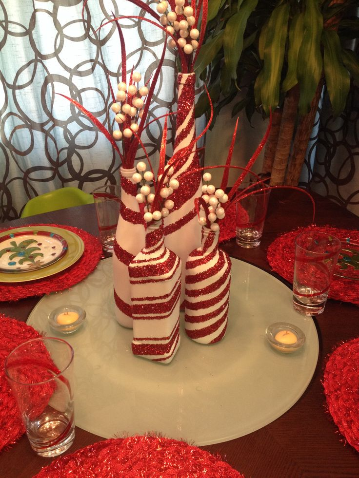 Wine Bottles Painted As Candy Canes