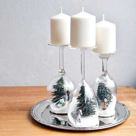 Christmas Candle Holder Snow Globes
