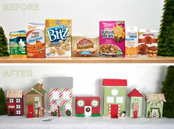 Christmas Village Out of Recycled Cereal Boxes