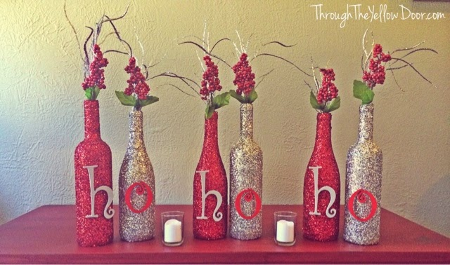 Glitter Wine Bottles with Letters