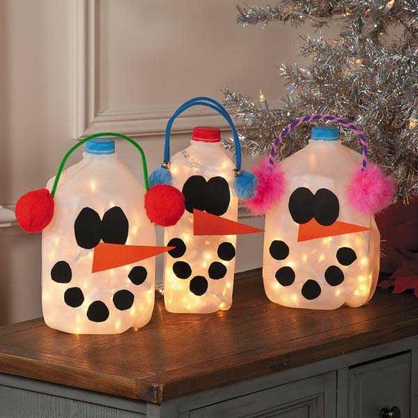 Glowing Snowmen From Milk Jugs