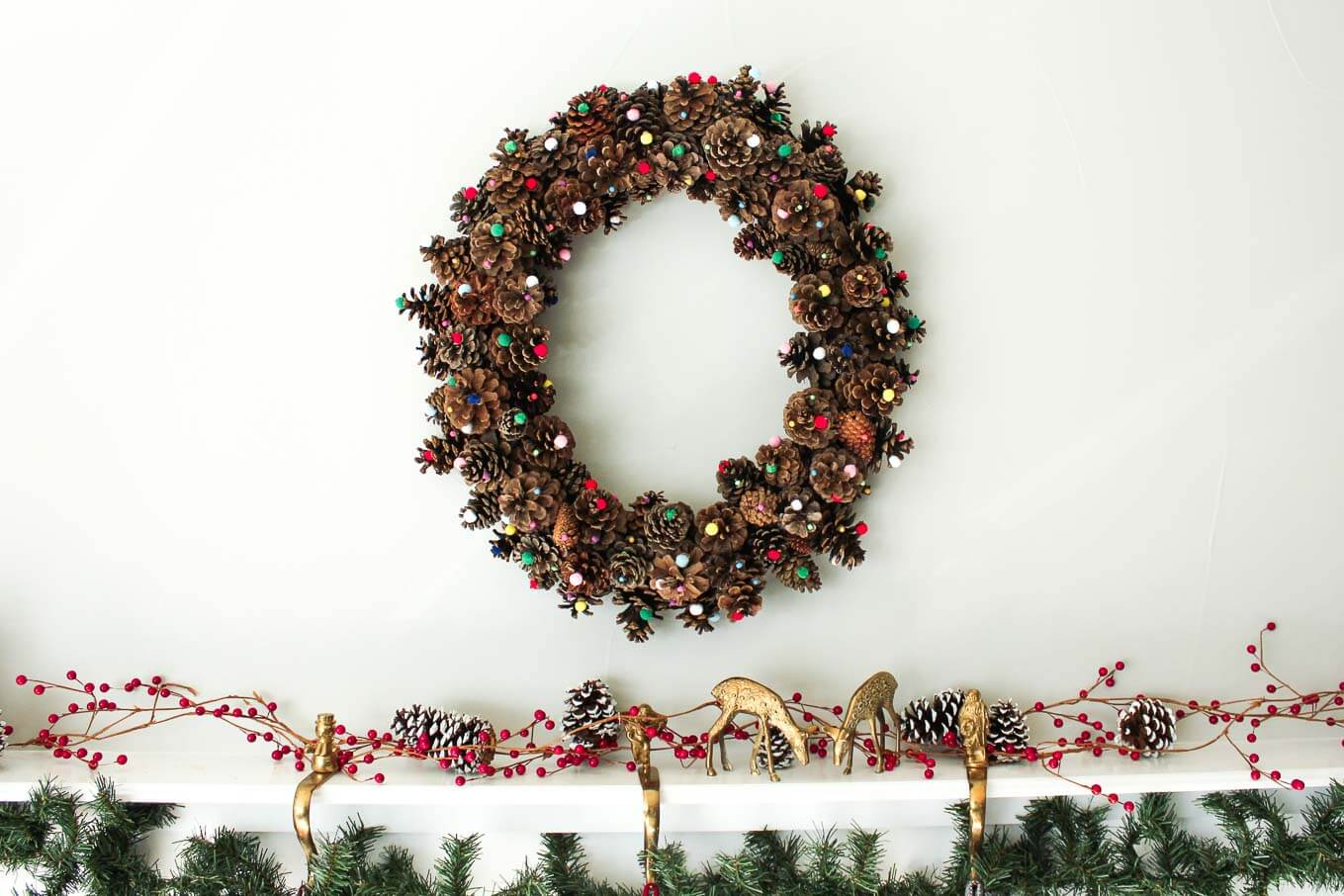 Pine Cone Wreath with Pom Poms