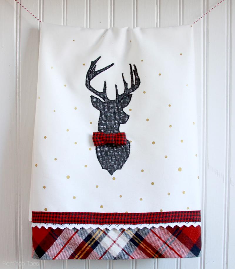 Plaid and Polkadot Deer Dish Towel