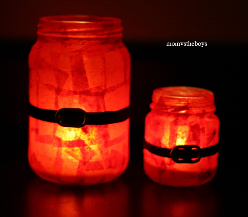 Santa Candles From Mason Jars