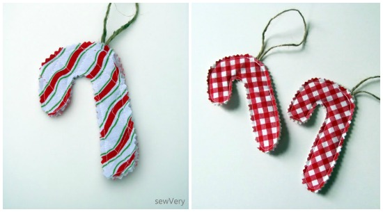 Simple Candy Cane Ornaments