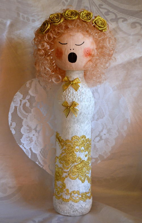 Wine Bottle Angel Christmas Decoration