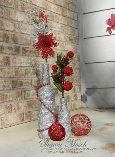 Wine Bottle Holiday Vases
