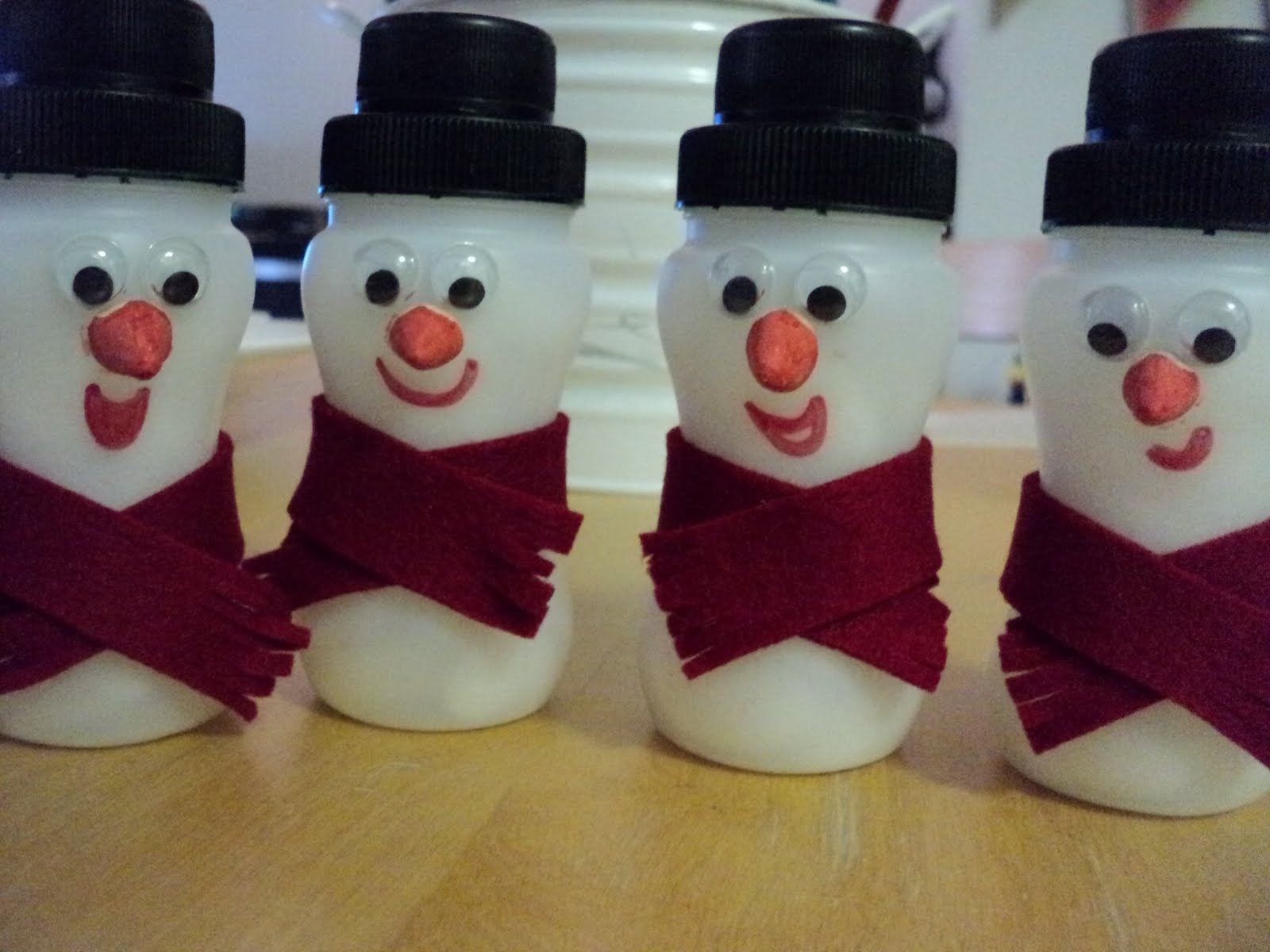 Yoghurt Bottle Snowmen