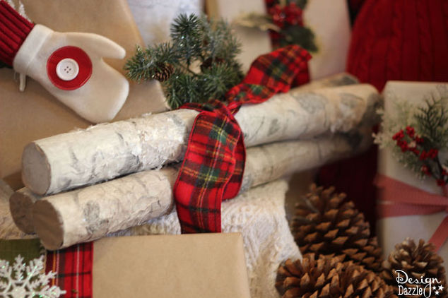 make faux birch logs using foam pool noodles