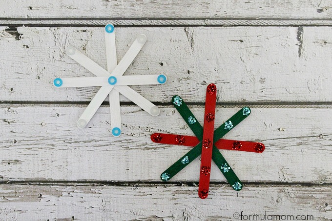 Craft Stick Snowflake Ornaments
