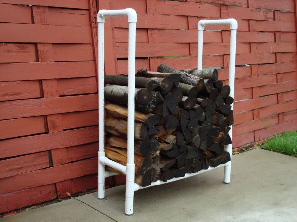 Firewood Storage Rack From PVC Tubes