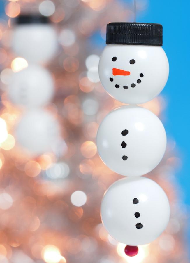 Ping Pong Snowmen Ornaments