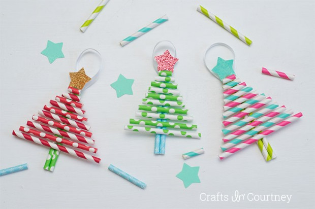 Pretty Paper Straw Christmas Trees