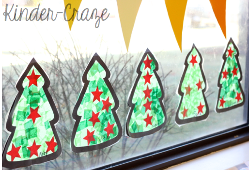 Tissue Paper Christmas Trees to Decorate The Windows