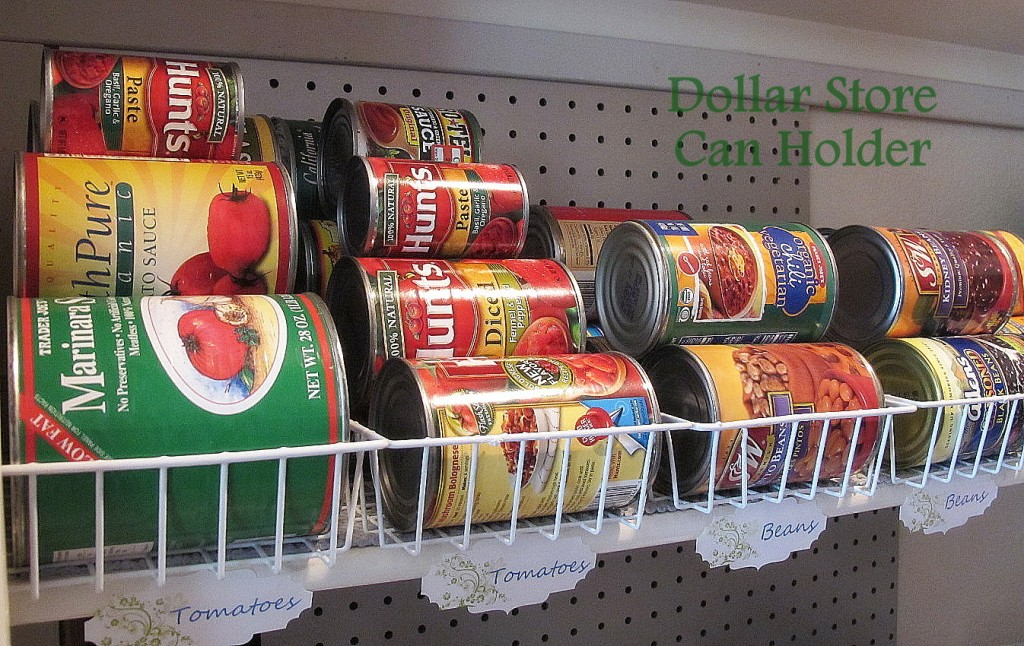 Cheap storage for canned foods using wire baskets from the dollar store
