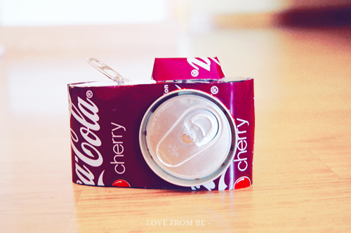 Decorative Camera Made from Two Soda Cans