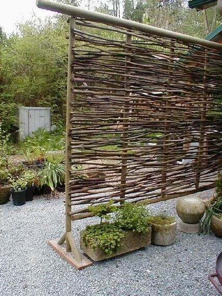 Make a movable screen using a variety of twigs, reeds, or branches