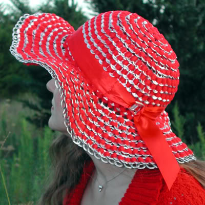 Oversized Sun Hat Made of Can Tab