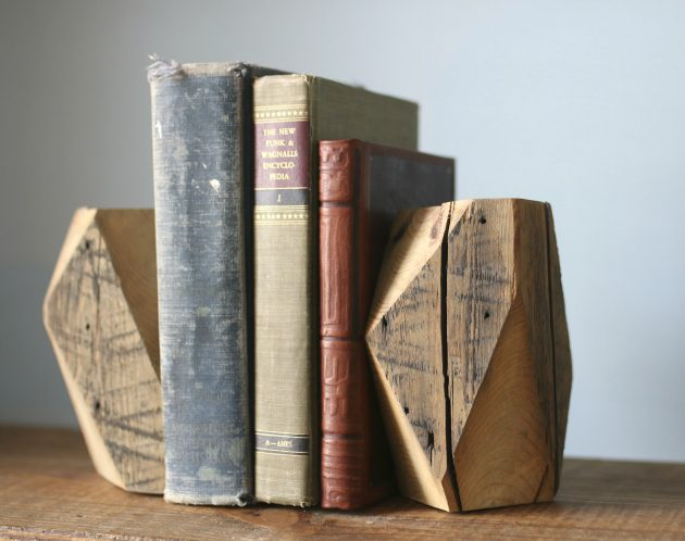 Rustic Modern Geometric Bookends