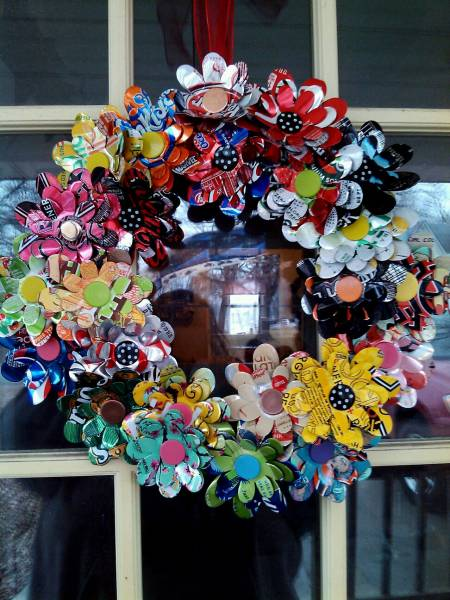 Soda Can Flower Wreath
