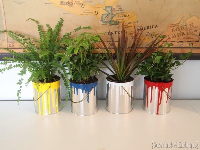 Dipped Paint Can Planters